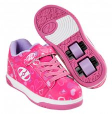 Heelys X2 Dual Up Hot Pink-White-Hearts